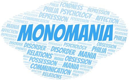 Monomania word cloud. Type of mania, made with text only.