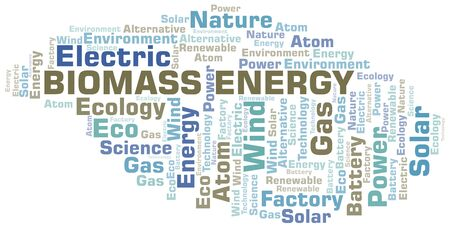 Biomass Energy word cloud. Wordcloud made with text only. Stock Illustratie