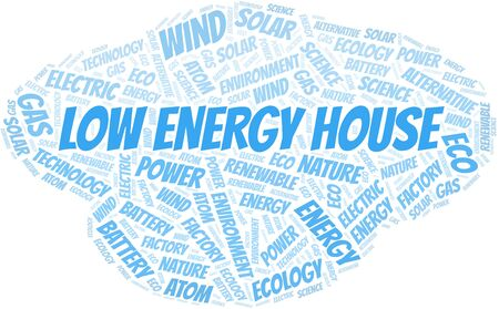 Low Energy House word cloud. Wordcloud made with text only. Standard-Bild - 124995893