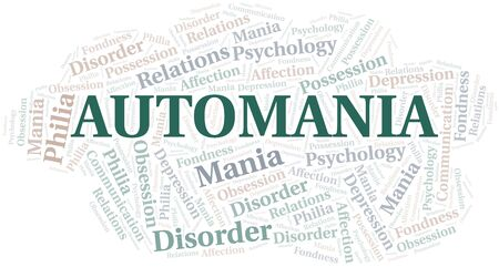 Automania word cloud. Type of mania, made with text only. Illusztráció