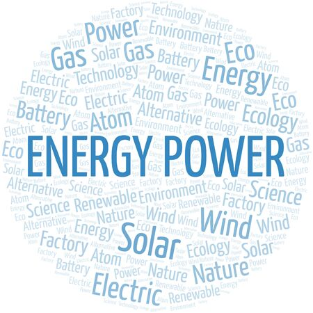 Energy Power word cloud. Wordcloud made with text only. Standard-Bild - 124995896
