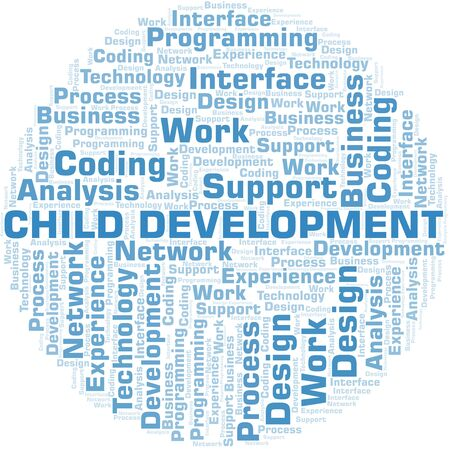 Child Development word cloud. Wordcloud made with text only. Иллюстрация