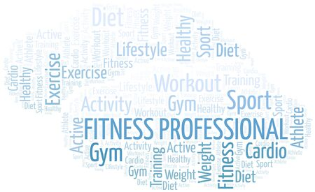 Fitness Professional word cloud. Wordcloud made with text only.
