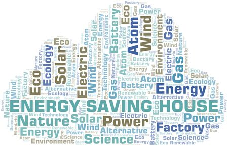 Energy Saving House word cloud. Wordcloud made with text only.