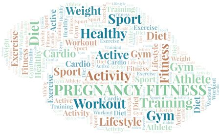 Pregnancy Fitness word cloud. Wordcloud made with text only.  イラスト・ベクター素材