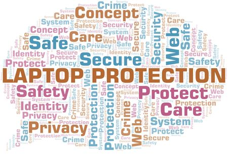 Nuage de mot de protection d'ordinateur portable. Wordcloud fait avec du texte uniquement.