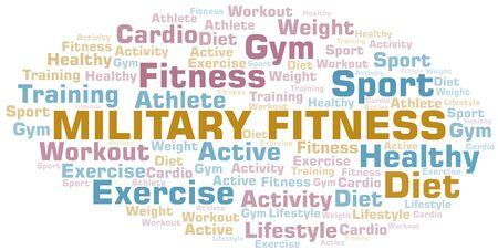 Militärische Fitness-Wortwolke. Wordcloud nur mit Text erstellt.