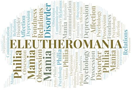 Eleutheromania word cloud. Type of mania, made with text only.