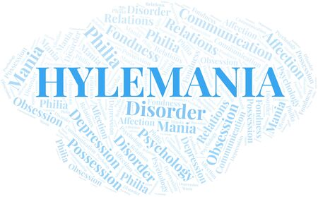 Hylemania word cloud. Type of mania, made with text only.