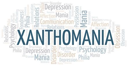 Xanthomania word cloud. Type of mania, made with text only.