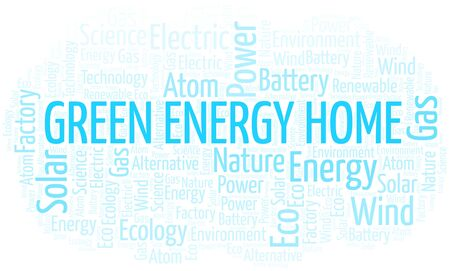 Green Energy Home word cloud. Wordcloud made with text only.