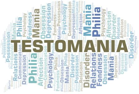 Testomania word cloud. Type of mania, made with text only.