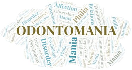 Odontomania word cloud. Type of mania, made with text only. Illusztráció