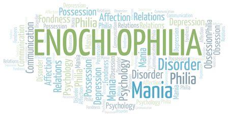 Enochlophilia word cloud. Type of Philia. Vettoriali