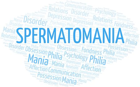 Spermatomania word cloud. Type of mania, made with text only.