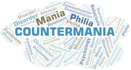 Countermania word cloud. Type of mania, made with text only.
