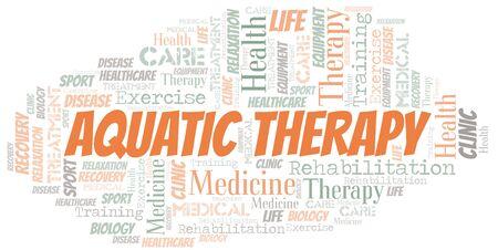 Nuage de mot thérapie aquatique. Wordcloud fait avec du texte uniquement. Vecteurs