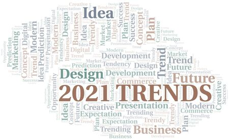 2021 Trends word cloud. Wordcloud made with text only. Çizim
