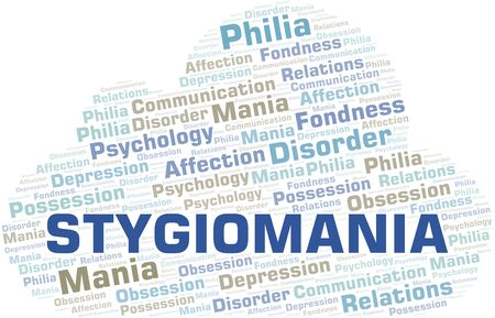 Stygiomania word cloud. Type of mania, made with text only. Vettoriali