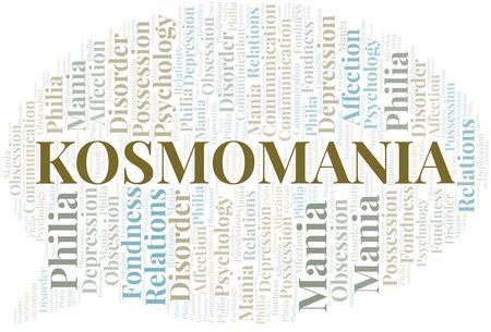 Kosmomania word cloud. Type of mania, made with text only. Illusztráció