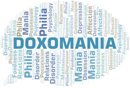 Doxomania word cloud. Type of mania, made with text only.