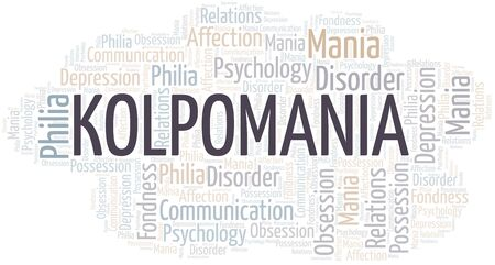 Kolpomania word cloud. Type of mania, made with text only.