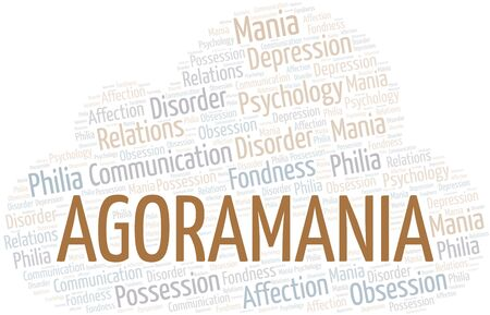 Agoramania word cloud. Type of mania, made with text only.
