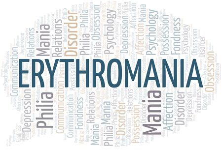 Erythromania word cloud. Type of mania, made with text only.