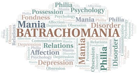 Batrachomania word cloud. Type of mania, made with text only.