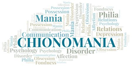 Chionomania word cloud. Type of mania, made with text only.