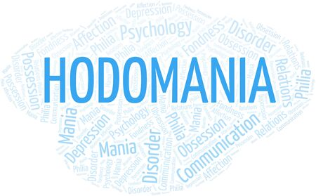 Hodomania word cloud. Type of mania, made with text only.
