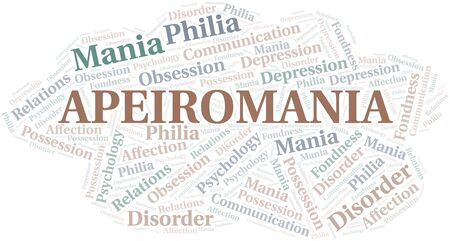 Apeiromania word cloud. Type of mania, made with text only. Vettoriali