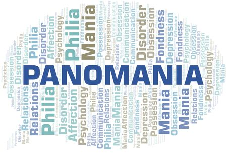 Panomania word cloud. Type of mania, made with text only.