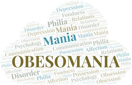 Obesomania word cloud. Type of mania, made with text only.