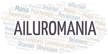 Ailuromania word cloud. Type of mania, made with text only.