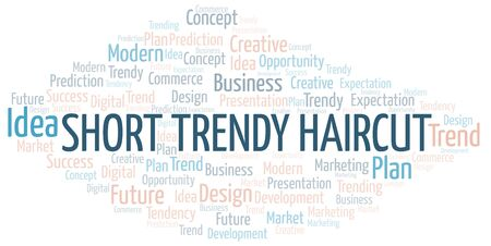 Short Trendy Haircut word cloud. Wordcloud made with text only.