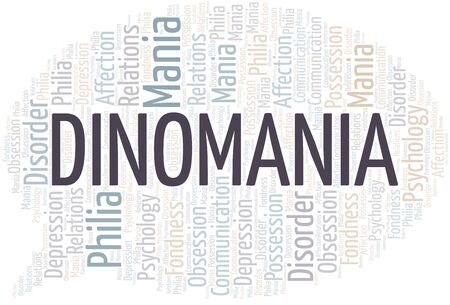 Dinomania word cloud. Type of mania, made with text only.
