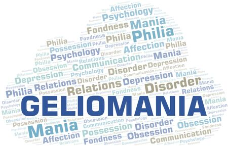 Geliomania word cloud. Type of mania, made with text only.