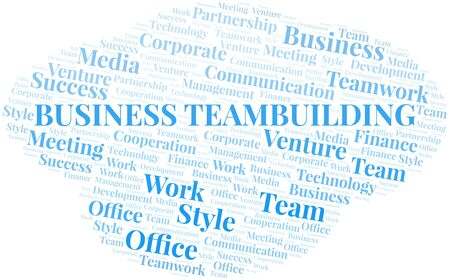 Business Teambuilding word cloud. Collage made with text only. Illustration