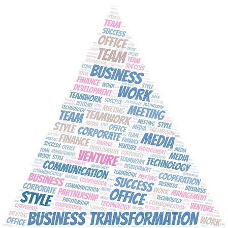 Business Transformation word cloud. Collage made with text only.