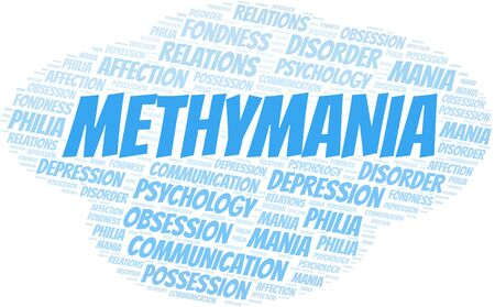 Methymania word cloud. Type of mania, made with text only.