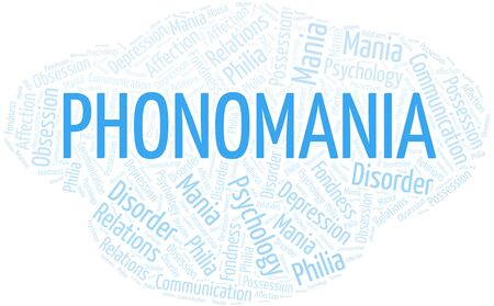 Phonomania word cloud. Type of mania, made with text only.