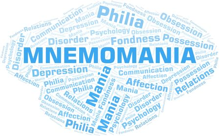 Mnemomania word cloud. Type of mania, made with text only.