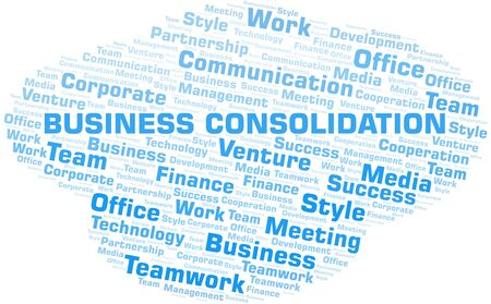 Business Consolidation word cloud. Collage made with text only. Vectores