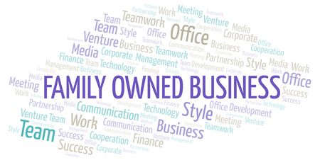 Family Owned Business word cloud. Collage made with text only.