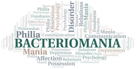 Bacteriomania word cloud. Type of mania, made with text only.