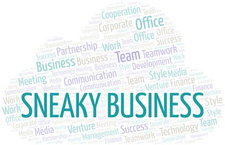 Sneaky Business word cloud. Collage made with text only.