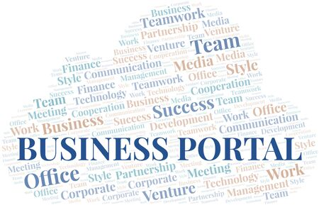 Business Portal word cloud. Collage made with text only.  イラスト・ベクター素材