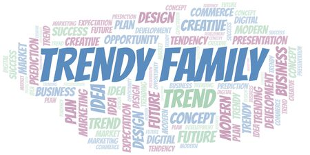Trendy Family word cloud. Wordcloud made with text only. Çizim