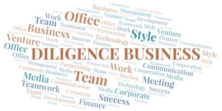 Diligence Business word cloud. Collage made with text only. Illustration